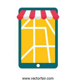 smartphone with delivery map with tent vector design