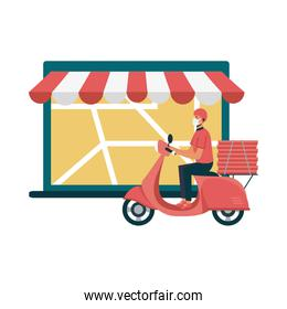 laptop with delivery map and man with mask vector design