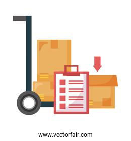 Delivery boxes cart and document vector design