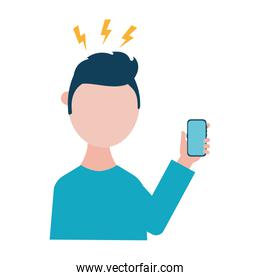 man with headache and smartphone vector design