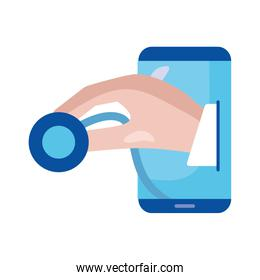 Smartphone with hand holding stethoscope vector design