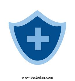 Isolated medical cross inside shield vector design