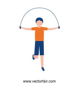 Man jumping with rope vector design