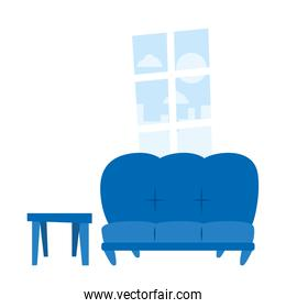 Isolated blue couch and window vector design