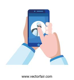 Hand holding smartphone with man with protective suit vector design