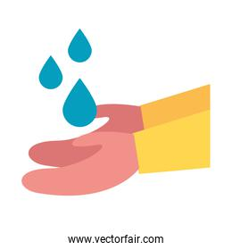 Isolated water drops over hands vector design