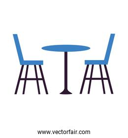 Restaurant table with chairs vector design