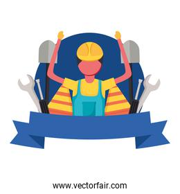constructer man worker with ribbon vector design