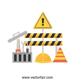Isolated construction barrier and icon set vector design