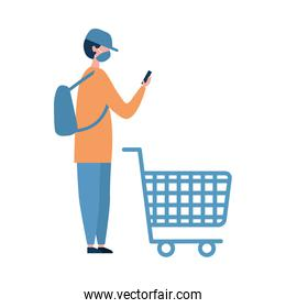 Man with medical mask shopping cart and smartphone vector design