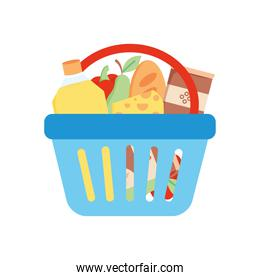 shopping basket with food and grocery products, detailed style