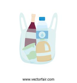 plastic bag with grocery bottles icon, detailed style