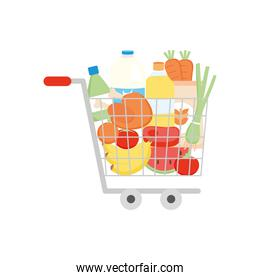 shopping cart with vegetables and grocery products, detailed style