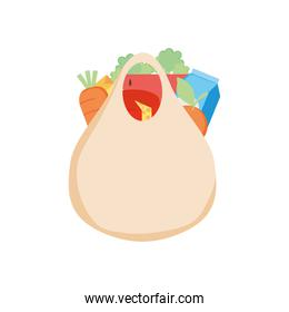eco shopping bag with vegetables and milk box, detailed style
