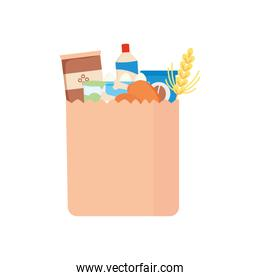 paper bag with food and grocery products, detailed style