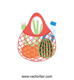 shopping turtle bag with vegetables and water bottle, detailed style