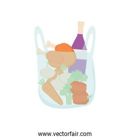 plastic bag with vegetables, chicken and wine bottle, detailed style