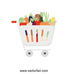 supermarket cart with vegetables, detailed style