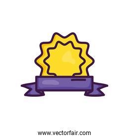 decorative seal and ribbon icon, line color style