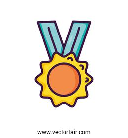 winner medal icon, line color style