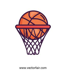basketball hoop with ball icon, line color style