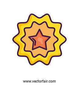 decorative seal with star icon, line color style