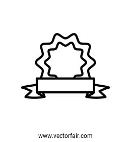 decorative seal and ribbon icon, line style