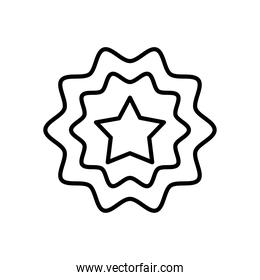 decorative seal with star icon, line style
