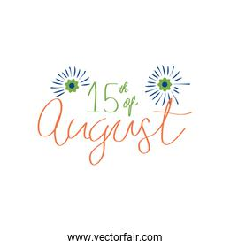India independence day date lettering design with decorative flowers, flat style