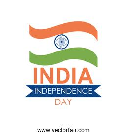 India independence day lettering design with india flag and decorative ribbon, flat style