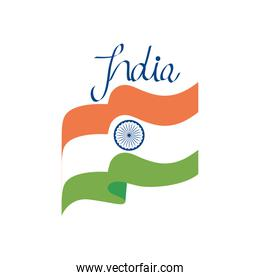 india flag waving icon, flat style