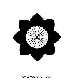 India independence concept, Indian Tricolor Flower Flag icon, silhouette style