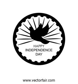 India independence day design with decorative dove and ashoka chakra symbol, silhouette style