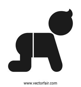 pictogram baby crawling icon, silhouette style