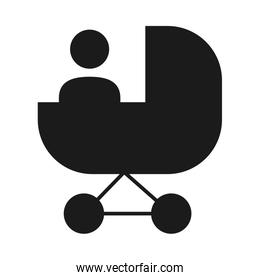 pictogram baby in a stroller icon, silhouette style