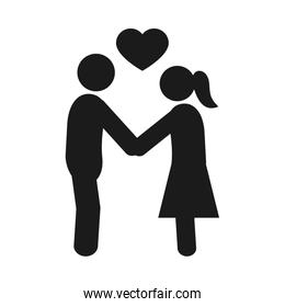 pictogram couple in love, silhouette style