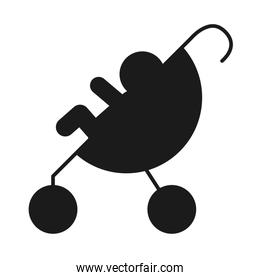 pictogram strollet with baby, silhouette style