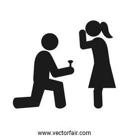 pictogram man making marriage proposal to a woman, silhouette style