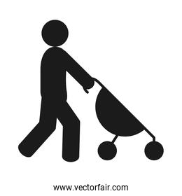 pictogram man with stroller icon, silhouette style