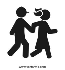 pictogram girl and boy holding hands walking, silhouette style