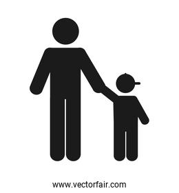 pictogram man with a boy, silhouette style