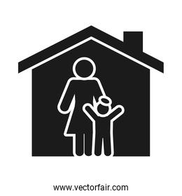 house with pictogram woman and boy, silhouette style