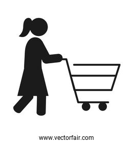 pictogram woman with shopping cart icon, silhouette style