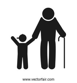 pictogram old man with a little boy icon, silhouette style