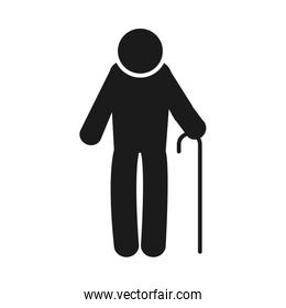 pictogram old man with a cane, silhouette style