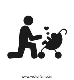 pictogram father with a baby on stroller with hearts icon, silhouette style