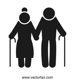 pictogram elderly couple icon, silhouette style