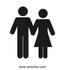 pictogram couple holding hands, silhouette style