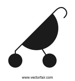 baby stroller icon, silhouette style