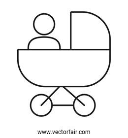 pictogram baby in a stroller icon, line style